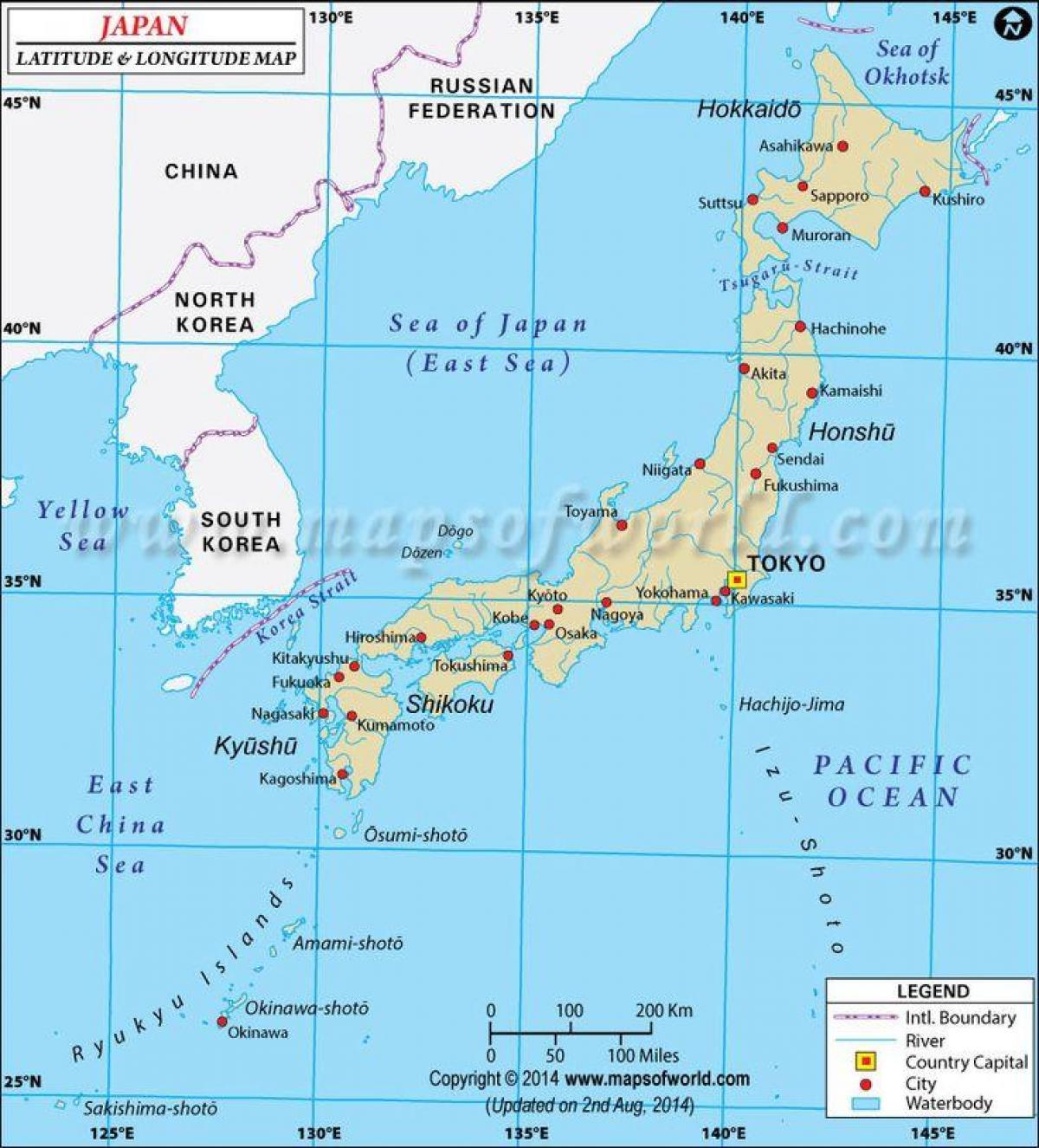 Japan Breddegrad Og Laengdegrad Kort Japan Kort Med Breddegrad Og